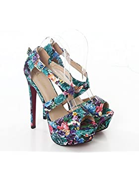 Scarpe donna plateau sexy sandali floreali tacchi alti nuove