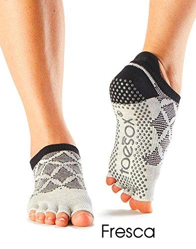 ladies-1-pair-toesox-yoga-socks-open-toe-design-low-cut-5-pairs-in-organic-cotton-fresca
