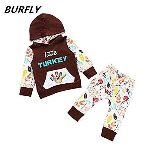 Bekleidung BURFLY Babybekleidung ♥♥ Thanksgiving Baby Kleidung, Kinder Outfits Kleidung Print T-Shirt Tops + Pants Set (90 CM_18 Monat, Kaffee)