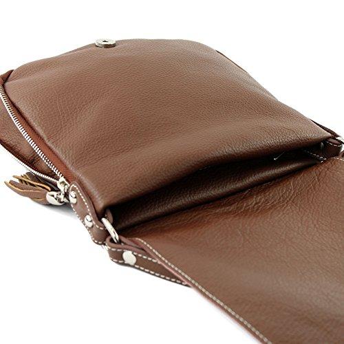modamoda de - ital. Ledertasche Damentasche Umhängetasche Messenger Crossover Leder T06 Braun
