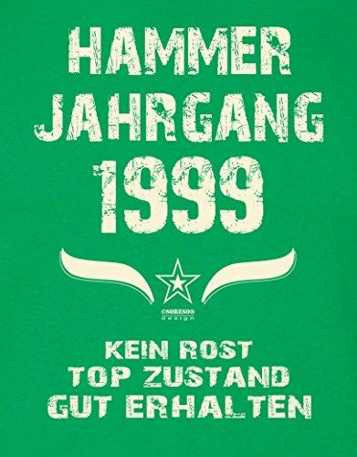 Geschenk zum 18. Geburtstag :-: Herren Geburtstags-Sprüche-T-Shirt :-: Hammer Jahrgang 1999 Farbe: hellgrün :-: Geburtstagsgeschenk Männer :-: Hellgrün