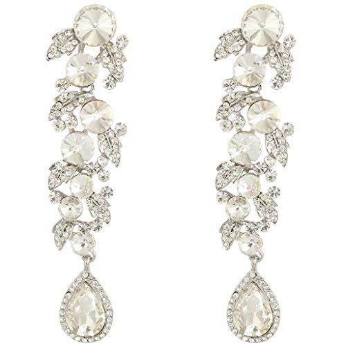 Ever Faith Impegno tono floreale argento orecchini pendenti foglia cristallo austriaco chiaro lacrima N02542-1