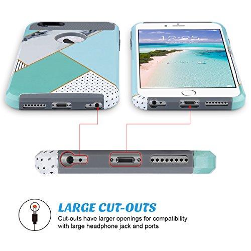 iPhone 6 Plus Hülle, ULAK iPhone 6s Plus 5.5 Hülle Dual Layer Hybrid Schutzhülle Hart PC + TPU Weiche Stoßfest Tasche Case Cover für Apple iPhone 6 Plus/6s Plus 5.5 Zoll(Minze Marmor) Minze Marmor