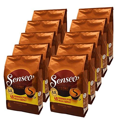 Senseo Kaffeepads Strong/Kräftig, 10er Pack, Kraftvoller Geschmack, Kaffee, 480 Pads