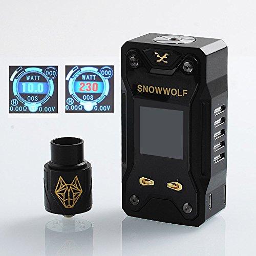 SIGELEI XFeng Kit - E Zigarette Batterieträger 230W TC Box Mod Kit mit Sigelie RDA - SNOWWOLF Enorme Dampf Elektronische Zigarette Vaporizer, Nikotinfrei (Schwarz) (Black + 2 x 40A 3000 - Zigarette Elektronische Sigelei