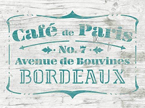 Café de Paris Shabby Chic Vintage Schablone