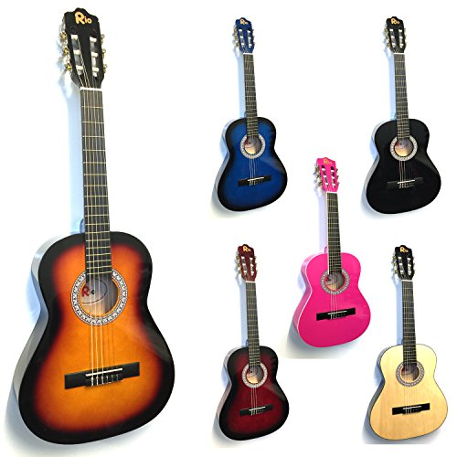 Price comparison product image Rio 3 / 4 Size Sunburst Classical Guitar Pack For Kids Beginners - Suit 9 To 12 Years - Inc Bag,  Strap,  Picks