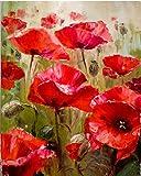 Rote Blume abstrakt DIY Malen nach Zahlen Kits modernes Wandtattoo Kunst Bild handgemalt Ölgemälde für Zimmer Artwork 40 x 50 unframed Red Flower