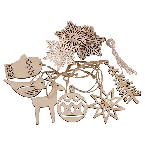Ezakka 16pcs in legno decorativi ornamenti in legno da appendere crafts con corde per albero di natale decorazioni
