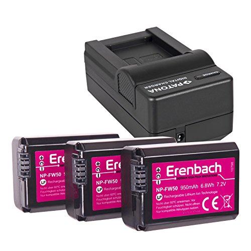 4in1-SET für die Sony Alpha 5000 / Alpha 6000 --- 3 ERENBACH Akkus (950mAh) + Schnell-Ladegerät für Digitalkamera / Camcorder incl. KFZ-Lader (12V)