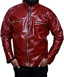 #2: Outlook collection Men Zip Up Stand Collar Leather Jacket Medium size Maroon Color