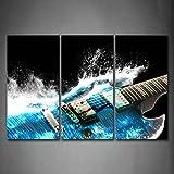 Chitarra In Blu E Onde Sembra Bellissimo Pittura di arte della parete La stampa su tela di canapa Musica Quadri d'illustrazione per l'ufficio domestico Decorazione moderna
