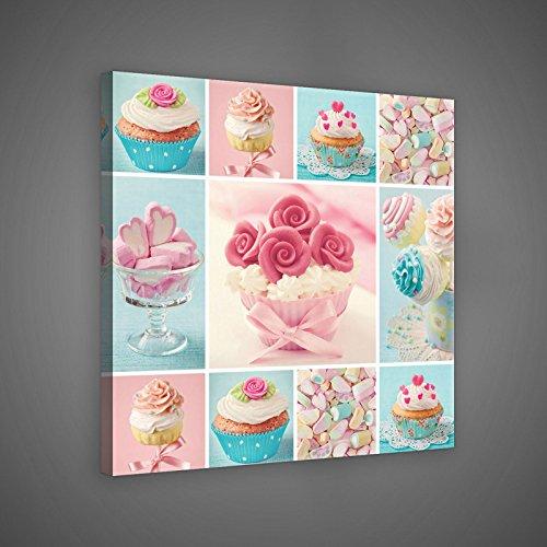 FORWALL Bilder Canvas Bunte Cupcakes und Kekse O2 (80cm. x 80cm.) Leinwandbilder Wandbild AMFPP10446O2