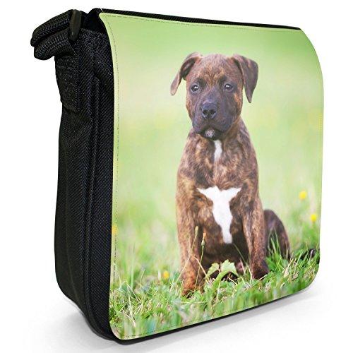 Staffordshire Bull Terrier Staffy personale Dog-Borsa a tracolla in tela, piccola, colore: nero, taglia: S Brown Staff Puppy Dog