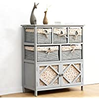 Cherry Tree Furniture Grey Paulownia Solid Wood Sideboard Drawer Chest with Wicker Baskets