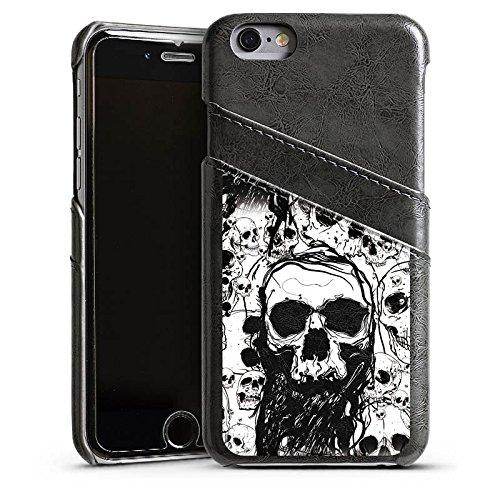 Apple iPhone 5c Housse Étui Protection Coque Crâne Tête de mort Tête de mort Étui en cuir gris