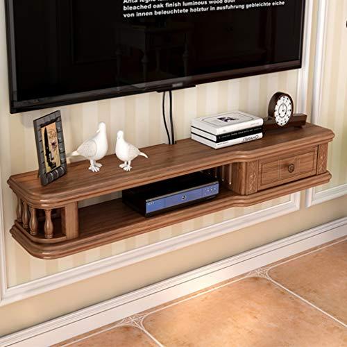 Holz schwimmende Regal Wandregal TV-Set-Top-Box Regal Wandschrank Wohnzimmer Wandregal Projektor Regal Kabel Box DVD-Player Aufbewahrungsregal (Color : Walnut Color, Size : 80cm)