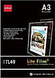 RTL49, 10 hojas x A3, papel retroiluminado premium, Lite Film® para mesa de luz, caja de luz, paneles de luz para copiadoras láser e impresoras de inyección de tinta