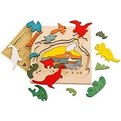 Juguetes Juegos Educativos Rompecabezas Múltiples Capas Dibujos Animados Madera Jurásico Dinosaurio Niños