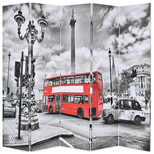 vidaXL Biombo Divisor Plegable 200x180cm Bus Londres Blanco/Negro Decoración