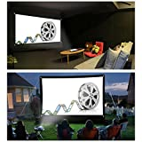 Rovtop Pantalla de proyector de montaje en pared / techo portátil y plegable de 100 '16: 9