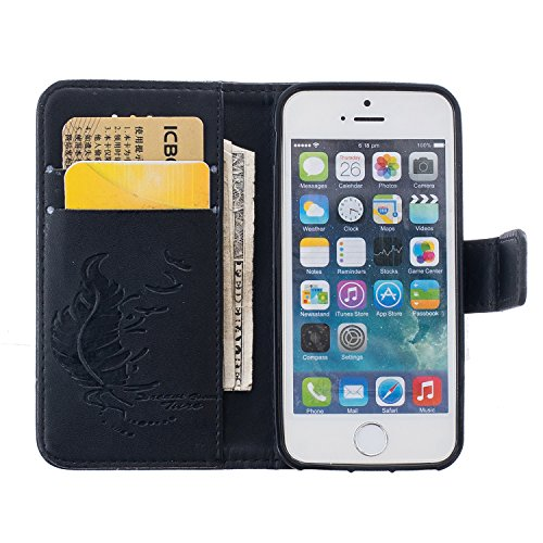 iPhone SE Hülle,iPhone 5S Ledertasche,iPhone 5 Case - Felfy Tasche PU Ledertasche Luxe Eleganz Bookstyle Wallet 3D Relief geprägtes Design Case Ledertasche Schutzhülle Blume Flower Muster Flip Standfu Feder Schwarz Case