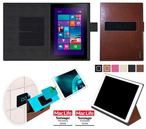 reboon Hülle für Dell Venue 10 Pro Tasche Cover Case Bumper | in Braun Leder | Testsieger