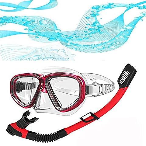 Plongée Plongée en apnée Équipement - Yougeyu Adulte Sec Haut Tuba Ensemble avec 2- les fenêtres Tempéré Verre Plongée Masque , Étanche et Anti-buée Lentille- (Rouge)