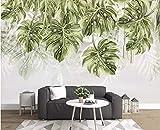 BHXINGMU Benutzerdefinierte Wandbilder Fototapeten Pflanzen Tropfende Blätter Dekorative Aufkleber Für Das Große Schlafzimmer Im Wohnzimmer 240Cm(H)×330Cm(W)