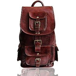 """18"""" mochila de cuero genuino para mujer para 17"""" portátil para hombre mochila con cordones llevar bolso de viaje bolso de mano impermeable prueba de agua marrón leather laptop backpack"""