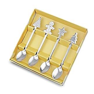 Sunsbell Navidad acero inoxidable cucharas de café vajilla de navidad 4pcs