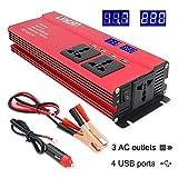 LCX Inverter di Potenza Inverter 1000W / 2000W di Picco DC 12V a 230V AC 240V Converter con 4 USB Interfacce 3 Universale Prese accendisigari Adattatore in Auto Invertitore di Potenza