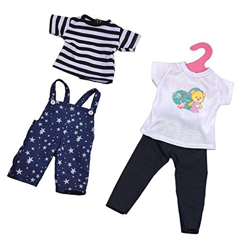 MagiDeal 2 Piezas Camisetas + Pantalones con Tirantes de Hombro + Pantalones Vaqueros para 18 Pulgadas American Girl Muñecas
