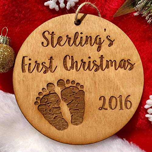 qidushop Personalized Babys First Christmas Ornament Baby Footprints Wood Ornament Baby Gift Baby Shower Baby Girl Baby Boy Newborn Keepsake