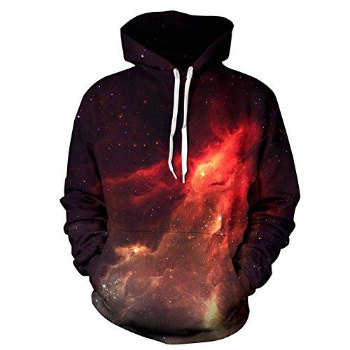 Hoodies 3D Galaxy Kapuzenpullover Unisex Tops Leichtgewichtig Langarm Hoody Sweatshirt S-XXXL (Small/Medium, Flammen-Sternenhimmel) (Passendes Galaxy Hoodies Paar)