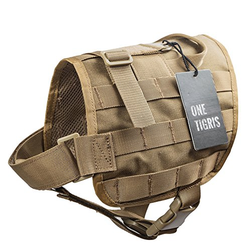 OneTigris Molle Kompakte Hundegeschirr Taktische Hundetrainings Weste Harness Brustgeschirre (Khaki, M)