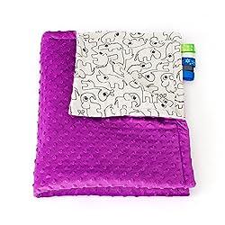 75cm x 100cm, Violet + Animals: 1buy3 MINKY lined baby blanket |plush blanket |play rug |cuddle blanket 75 x 100 cm (Violet + Animals)
