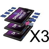 DiMeCard micro8 Porte Cartes Mémoire microSD MULTI-PACK, 3 pièces (Ultrafin, format carte de crédit, étiquette inscriptible)