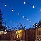 8m Innen/Außen Weihnachtsbeleuchtung Lichterkette, verknüpfbar, 20 LEDs warmweiß, Glühbirnen klar, Kabel schwarz, von Festive Lights