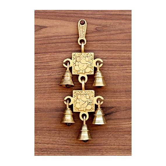 StonKraft - 15 Brass Ganesh Door Hanging - Beautiful Door Knocker/ Door Decor With Brass Bell For Door Decor and Wall Decor