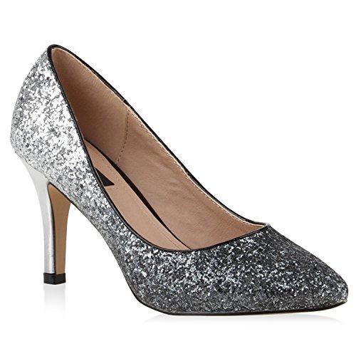 Stiefelparadies Spitze Damen Pumps Satinoptik Pailletten High Heels Schuhe 110508 Silber Glitzer 36 Flandell
