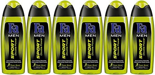 Fa - Uomo - Sport Doppia alimentazione - Gel doccia - 250 ml bottiglia - Set di 6