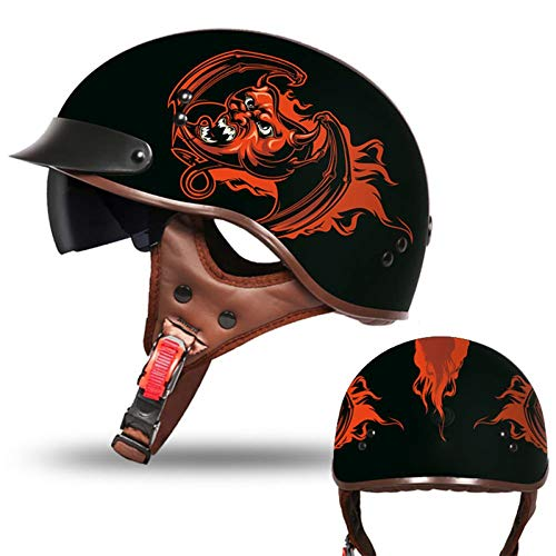 Elmetto Harley Tedesco retrò Mezzo Casco da Moto per Casco da Motociclista con Protezione UV/Forte Luce per Scooter da Turismo Curiser,B,XXL