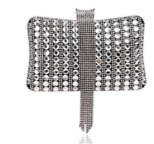 Strawberryer Verre Diamonds Sacs à Main Banquet Robe Décoration Nightclub Sac De Soirée Stockage Téléphone Embrayage Black