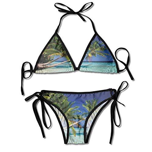 Custom Bikini Yellow Tube Top Sandy Beach Island with Coconut Printing Bikini