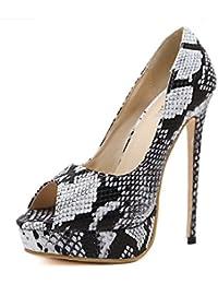 DIMAOL Zapatos de Mujer PU Primavera Verano Comodidad Novedad Tacones Stiletto Talón Peep Toe Para La Boda y La...