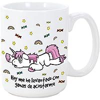 Tazas desayuno originales con unicornios - Hoy me he levantado con ganas de acostarme - 350 ml - Tazas con frases graciosas y divertidas