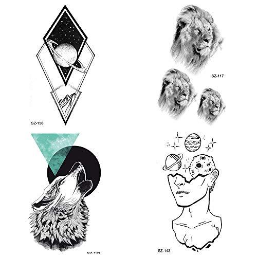 lihaohao Temporrary Tattoo Aufkleber Wolf Arm Rhombus Jupiter Wasserdicht Männer Body Art Zeichnung Gefälschte Kleine Tiger Face10.5X6Cm 4Pc