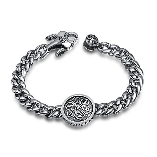 DOLOVE 925 Silber Armband Herren Breit Armband Kette Punk Mentra Buddhismus Charm Armband 925 Silber Länge 18CM -
