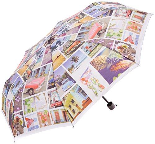 PERLETTI perletti2589954x 8cm Lady Mini 3secciones postales impreso paraguas a prueba de...